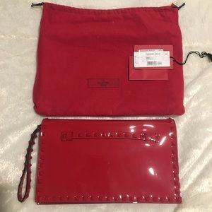 Valentino Rockstud Rouge Patent Leather Clutch
